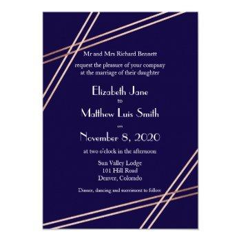 bilingual rose gold stripes wedding invite