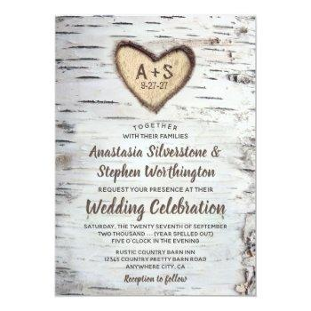 Small Birch Tree Bark Rustic Country Wedding Invitations Front View