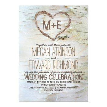 Small Birch Tree Heart Rustic Fall Wedding Invitation Front View