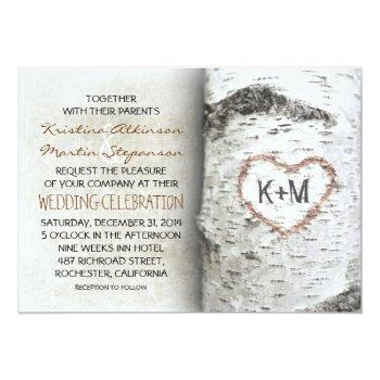 Small Birch Tree Rustic Wedding Invitations Front View