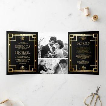 black and gold art deco photo collage wedding tri-fold invitation
