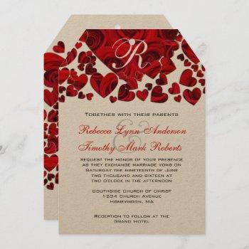 black and red heart roses wedding invitation