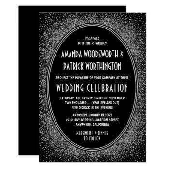 black and silver foil art deco wedding invitations