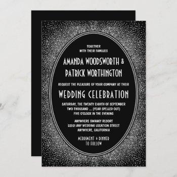black and silver foil art deco wedding invitations