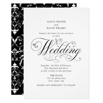 black and white, classic, elegant wedding invitation