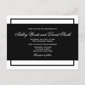 black and white elegant script wedding postcard