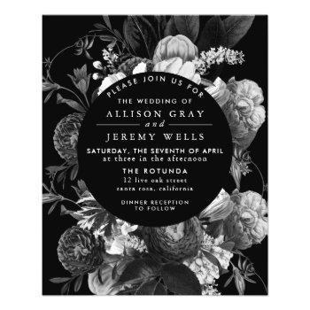 black and white floral wedding invitation flyer