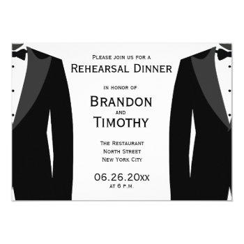 black and white gay wedding rehearsal invitations