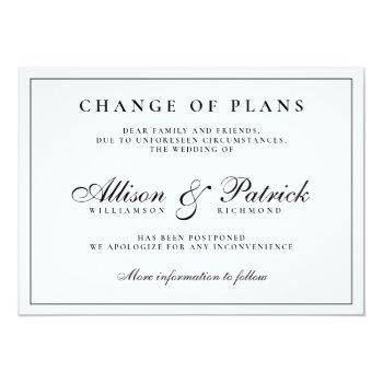 Small Black And White Minimalist Postpone Wedding Announcement Front View