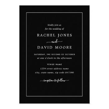 black and white modern wedding invitation