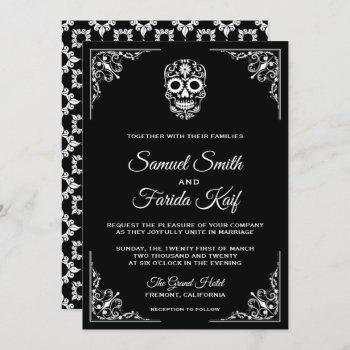 black and white sugar skull wedding invitation