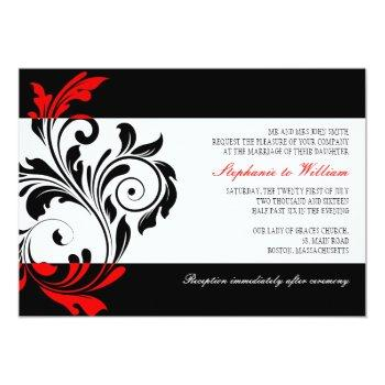 black and white swirl wedding invitation with red