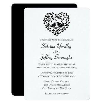 black and white wedding lovebirds floral heart invitation