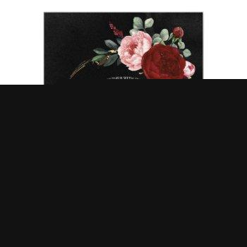 Small Black Burgundy And Gold Floral Modern Boho Wedding Invitation Front View