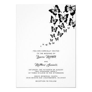 black butterfly wedding invitation
