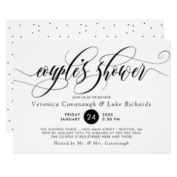 black calligraphy swirls couple's shower invitation
