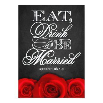 black chalkboard red rose wedding invitations