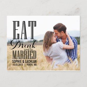 black eat drink be married invitation postcard ii