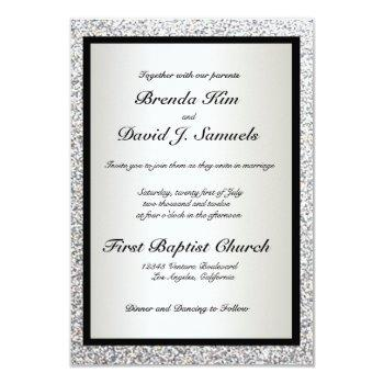 black elegant glitter wedding invitation