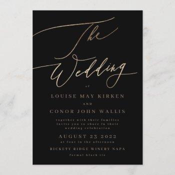 black elegant simple gold | rsvp on back wedding invitation