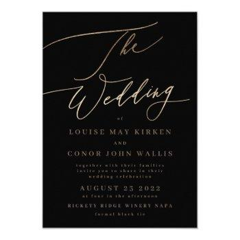 black elegant simple gold | rsvp on back wedding invitation