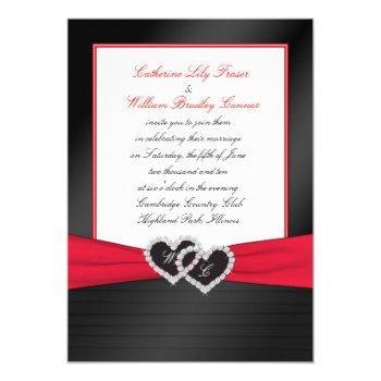 black faux satin pleats, hearts monogram invite