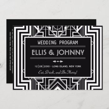 black geometric wedding programs