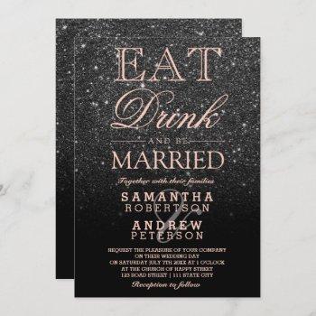 black glitter ombre rose gold  script wedding invitation