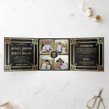 black gold art deco photo collage wedding tri-fold invitation