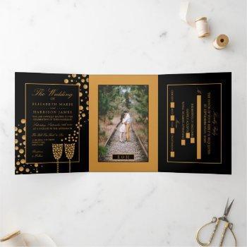 black & gold champagne bubbles, wedding suite tri-fold invitation