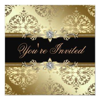 black gold damask black tie party invitation