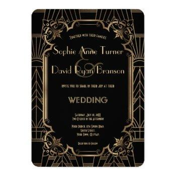 black gold great gatsby art deco 1920s wedding invitation