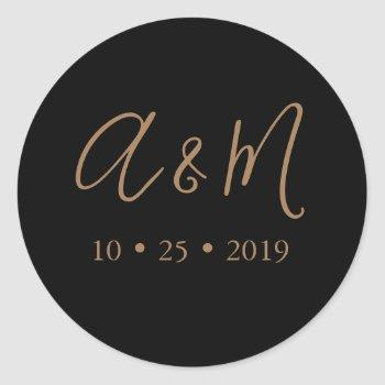 black gold monogram elegant wedding classic round sticker
