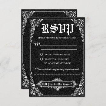 black gothic victorian damask wedding rsvp cards