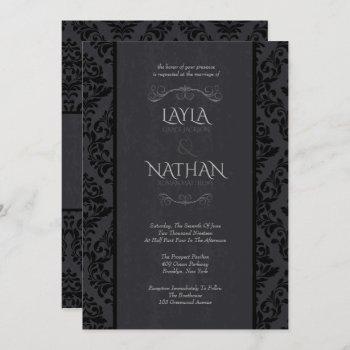 black & grey damask wedding invitations
