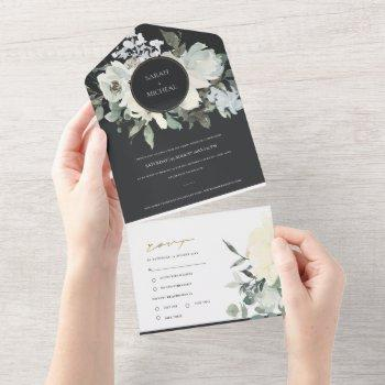black ivory white floral watercolor bunch wedding  all in one invitation