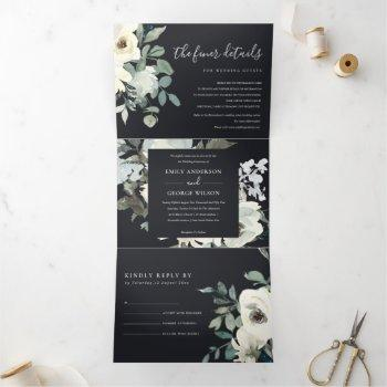 black ivory white floral watercolor bunch wedding tri-fold invitation