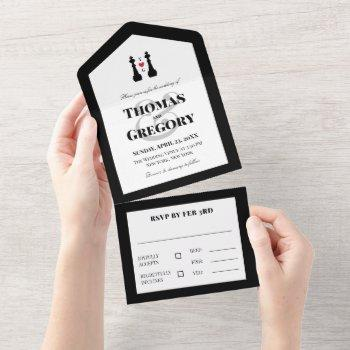 black king chess pieces gay wedding all in one invitation