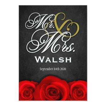 black mr & mrs red rose wedding invitations