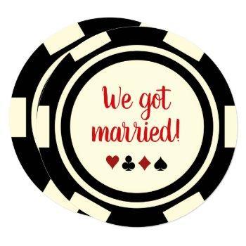 black off white poker chip wedding eloped announce invitation