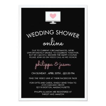 Small Black Pink Computer Virtual Wedding Shower Invitation Front View