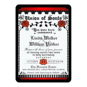 black red white union of souls wedding invitation