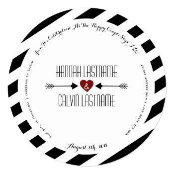 black stripes red heart + arrows round wedding invitation