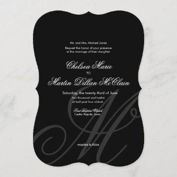 black tie | black white | wedding invitation