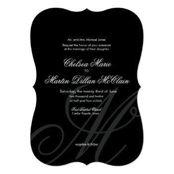 black tie | black white | wedding invitation