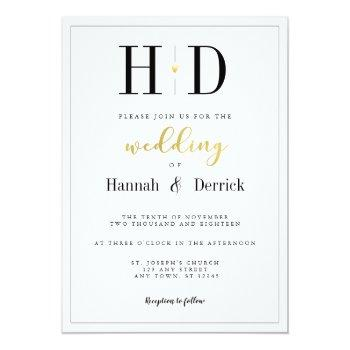 black white and gold classic monogram wedding invitation
