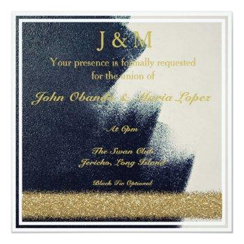 black, white and gold wedding invitation
