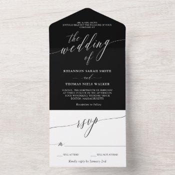 black white delicate calligraphy wedding all in one invitation
