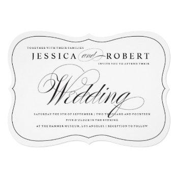 black & white elegant script wedding invitation
