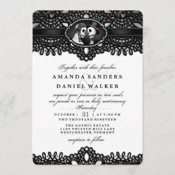 black white elegant skeleton wedding together with invitation